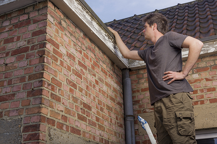 a man inspecting the roof
