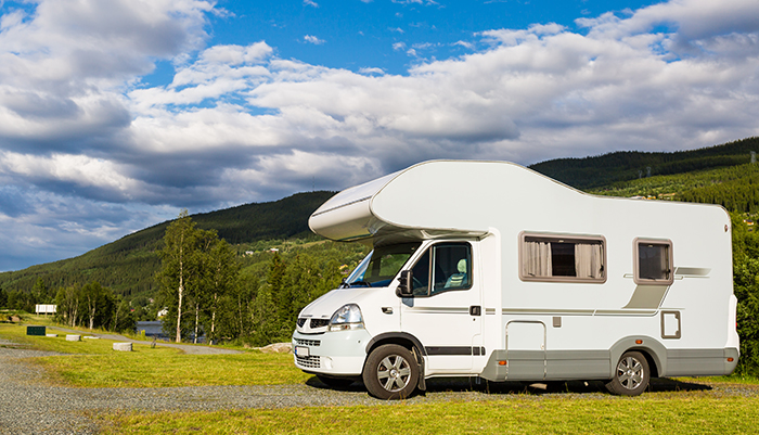 an RV parked on land