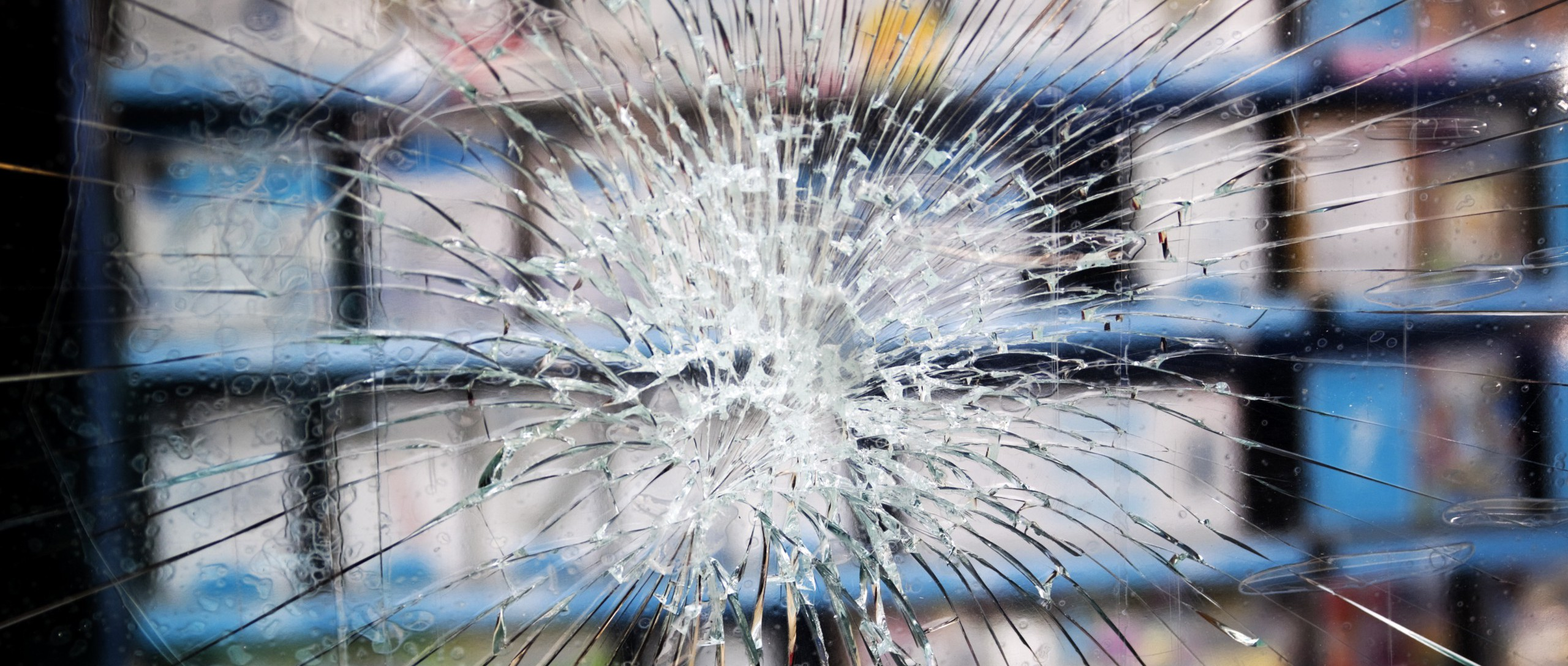 Smashed window with toughened glass