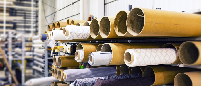 Rolls of fabric in manufacturing factory